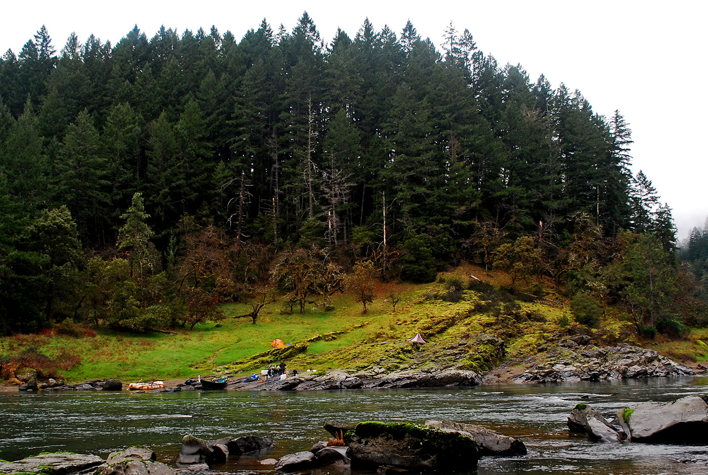 Looking across the river toward Upper Tacoma, Rogue River.